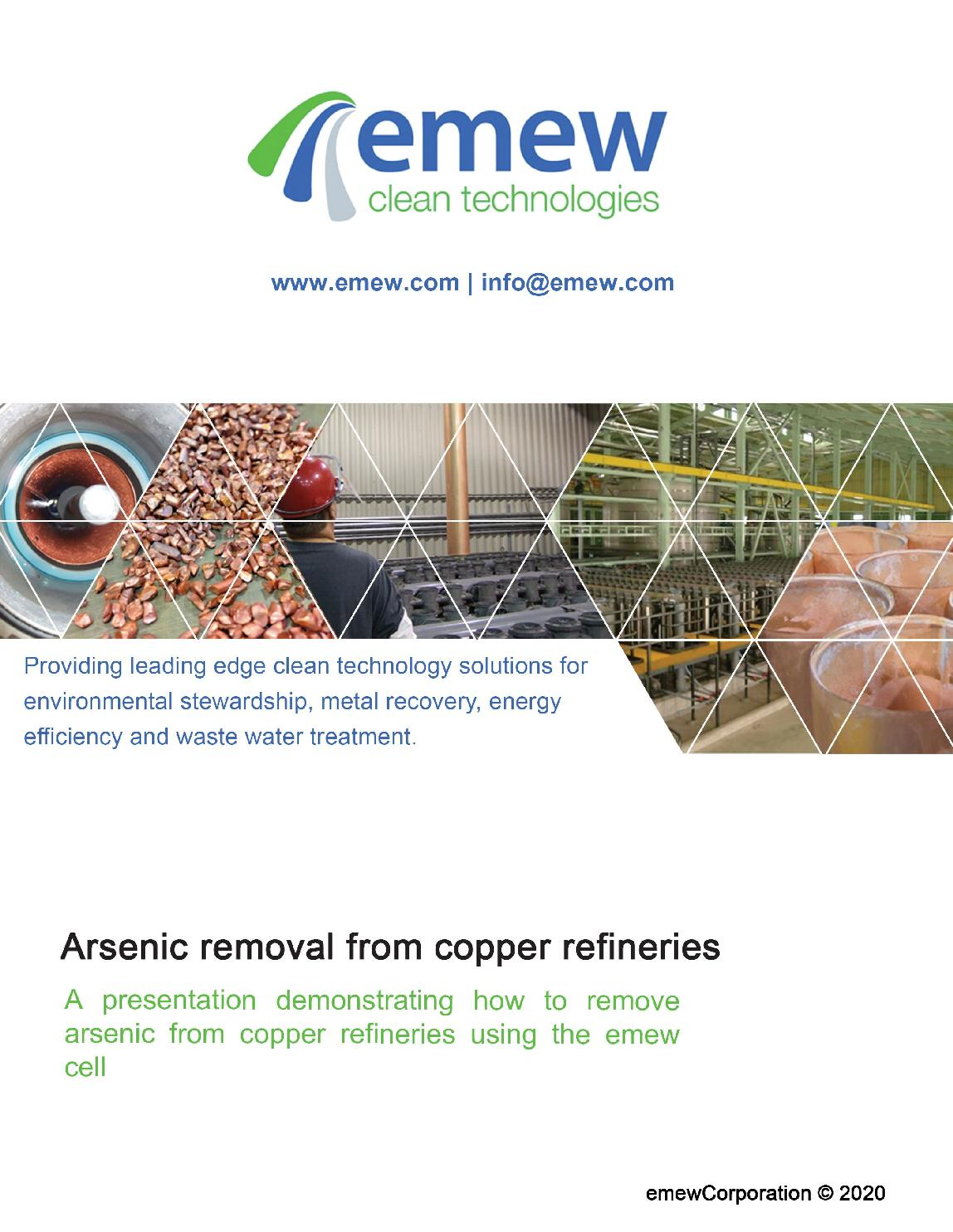 Arsenic removal from copper refineries