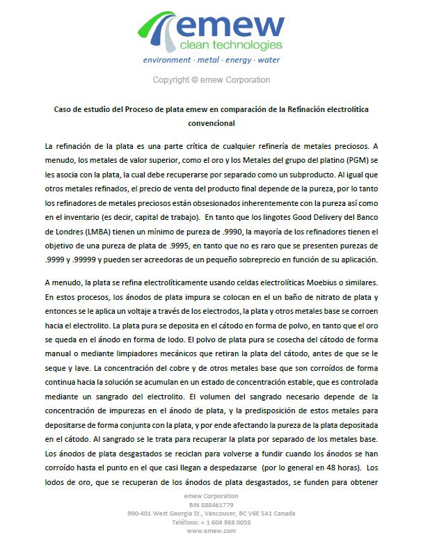 Caso de estudio: Proceso de Plata emew vs electro refinamiento convencional
