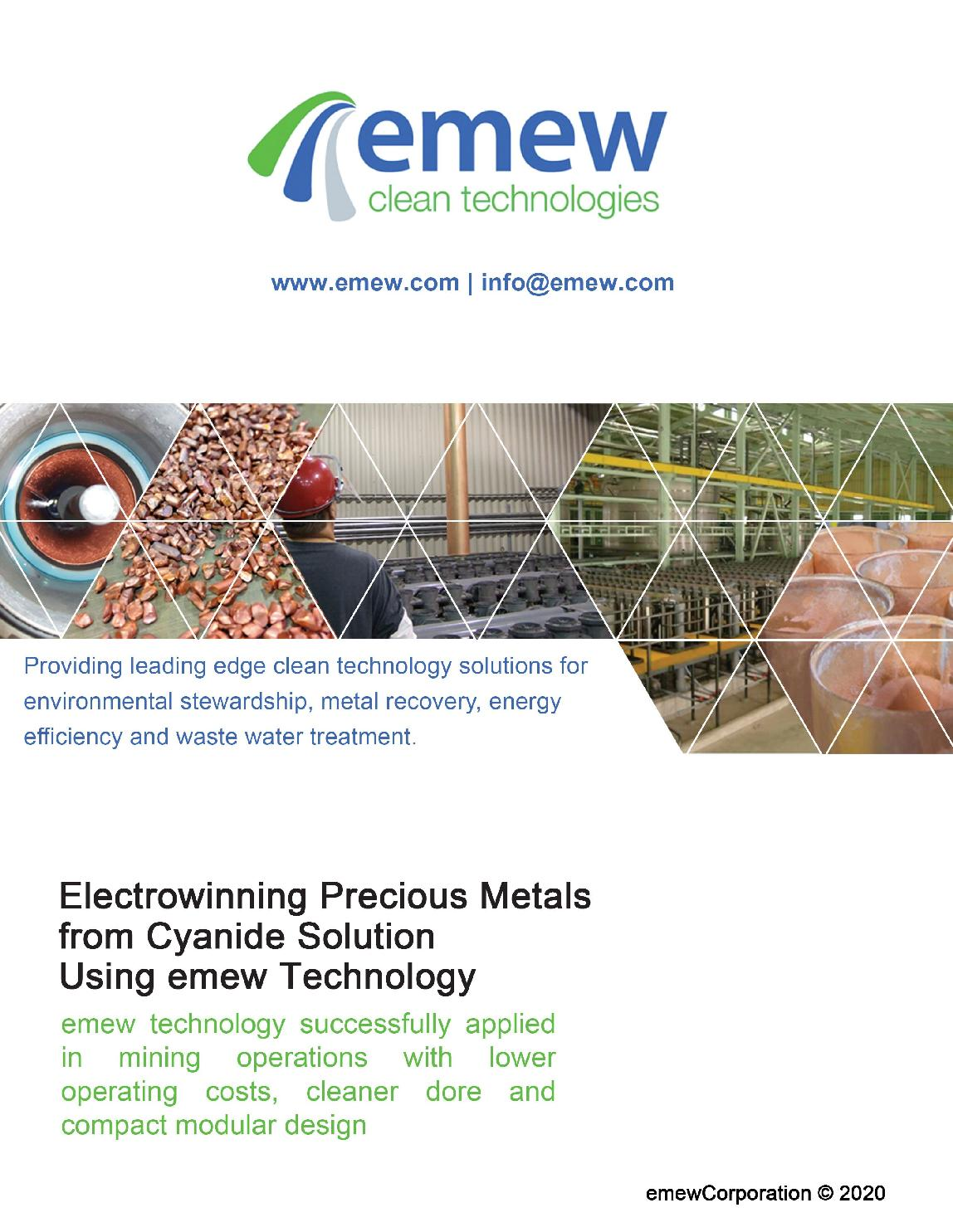 Electrowinning Precious Metals from Cyanide Solution using emew Technology